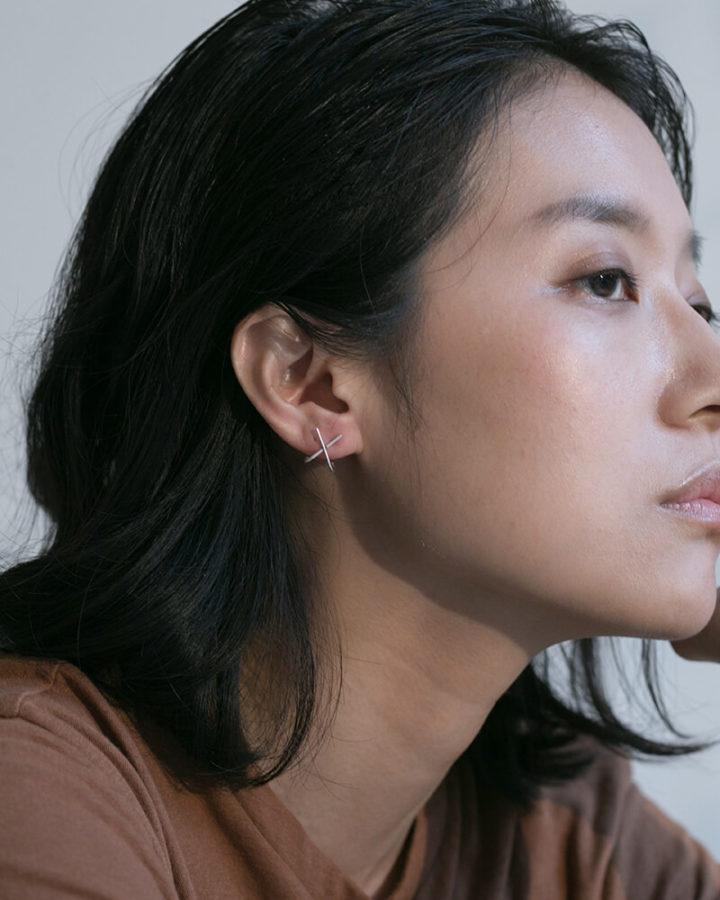 SILVER X EAR HUGGERS