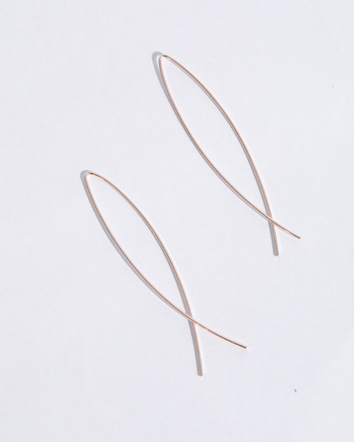 ROSEGOLD CROSSED EARRINGS